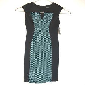 Covington Sheath Dress Color Block Polka Dot Vneck